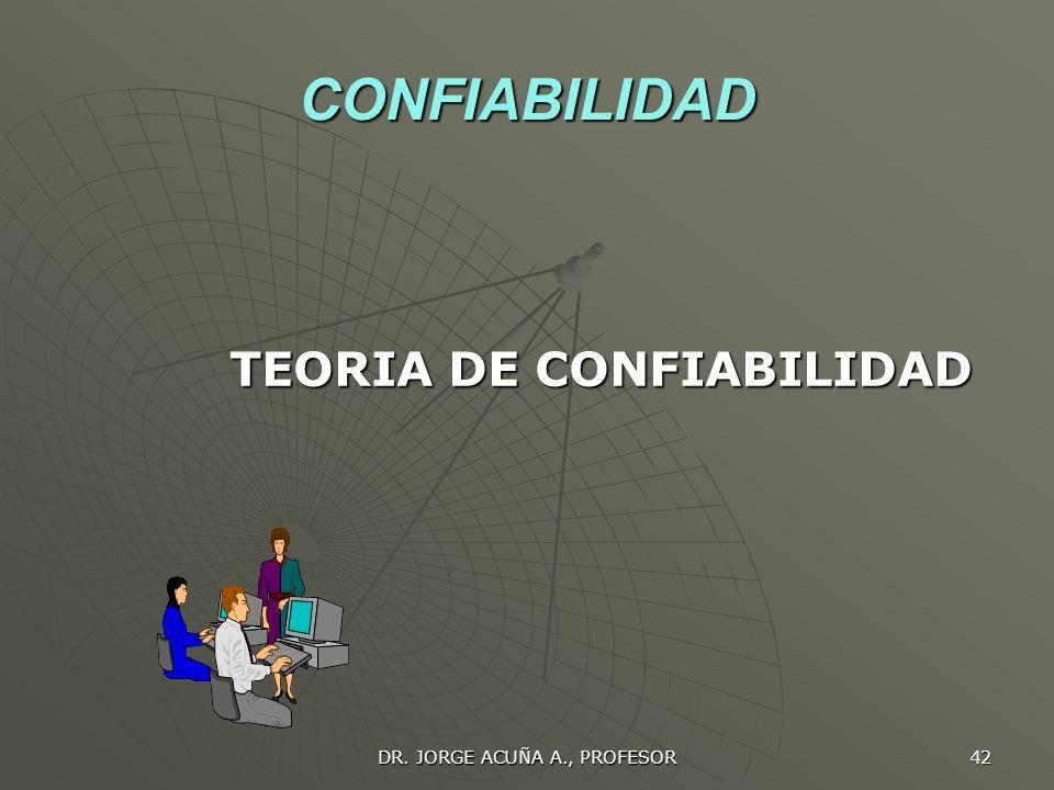 CONFIABILIDAD TEORIA DE CONFIABILIDAD DR. JORGE ACUÑA A., PROFESOR