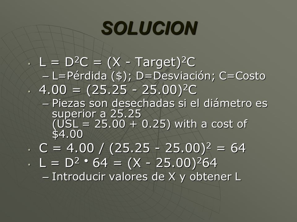 SOLUCION L = D2C = (X - Target)2C 4.00 = (25.25 - 25.00)2C