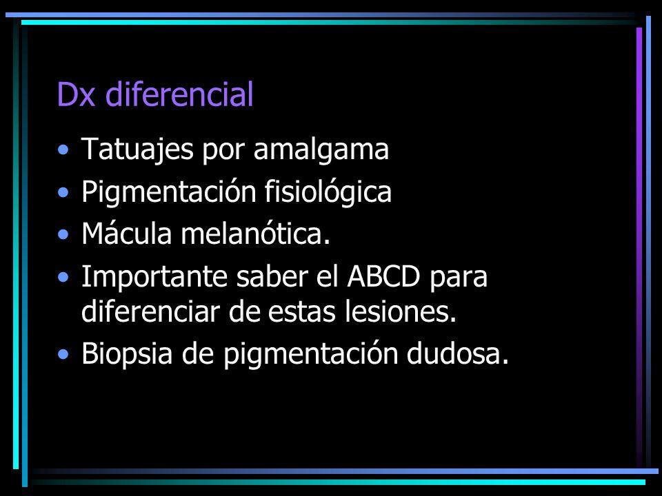 Dx diferencial Tatuajes por amalgama Pigmentación fisiológica