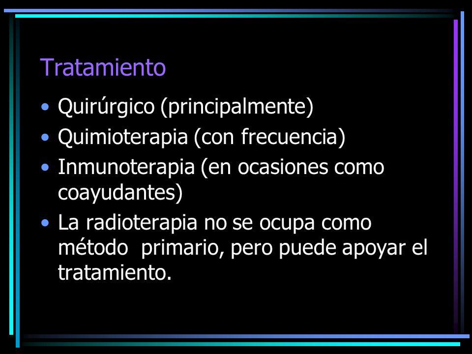 Tratamiento Quirúrgico (principalmente) Quimioterapia (con frecuencia)