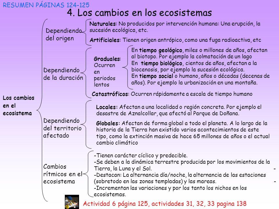 4. Los cambios en los ecosistemas