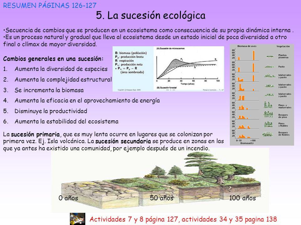 5. La sucesión ecológica RESUMEN PÁGINAS 126-127