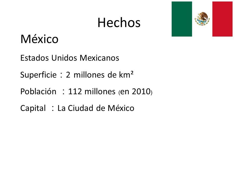 Hechos México Estados Unidos Mexicanos Superficie:2 millones de km²