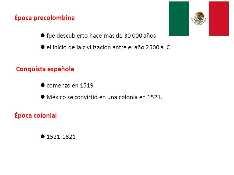 Época precolombina Conquista española Época colonial