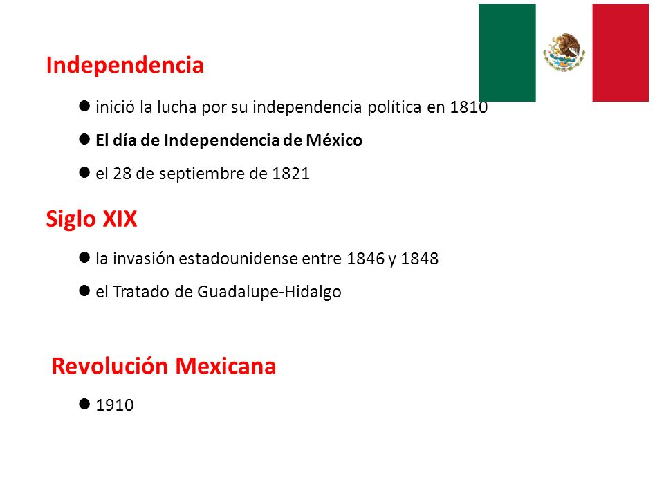 Independencia Siglo XIX Revolución Mexicana