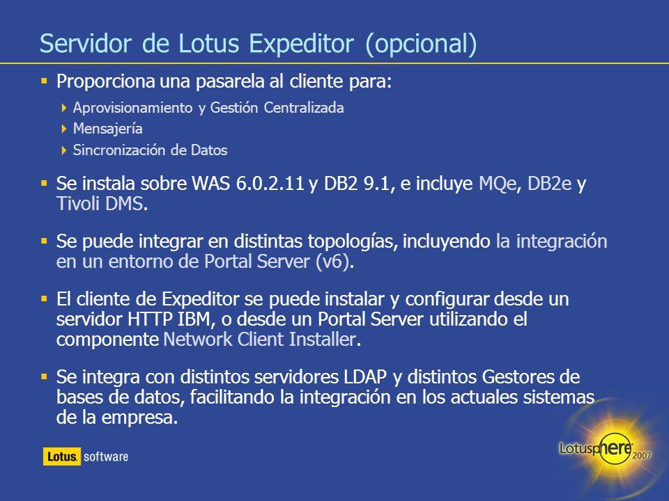 Servidor de Lotus Expeditor (opcional)