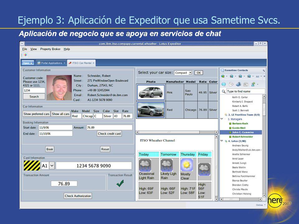 Ejemplo 3: Aplicación de Expeditor que usa Sametime Svcs.