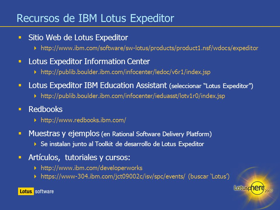 Recursos de IBM Lotus Expeditor