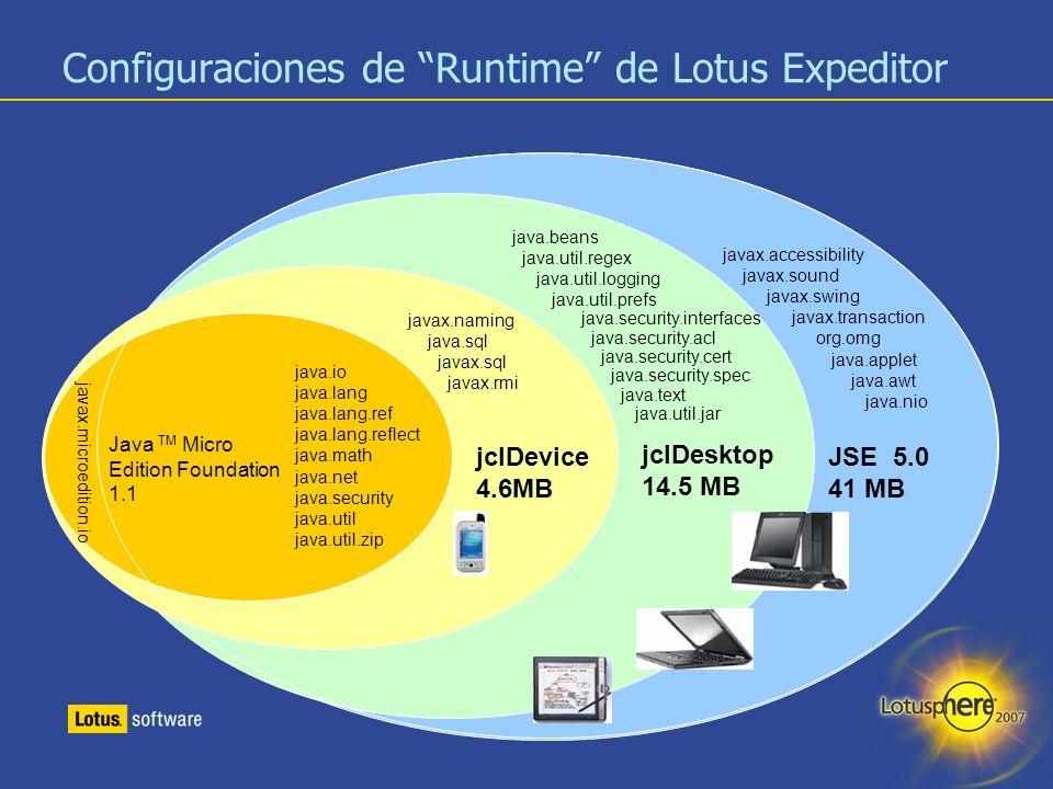 Configuraciones de Runtime de Lotus Expeditor