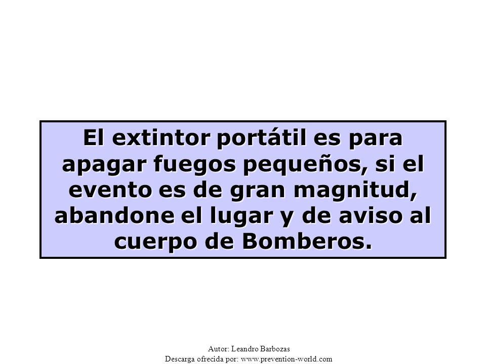 El extintor portátil es para apagar fuegos pequeños, si el evento es de gran magnitud, abandone el lugar y de aviso al cuerpo de Bomberos.