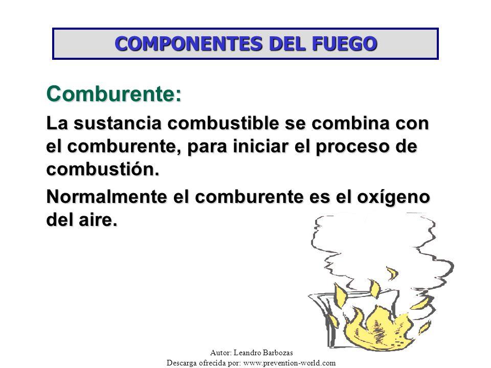 Comburente: COMPONENTES DEL FUEGO