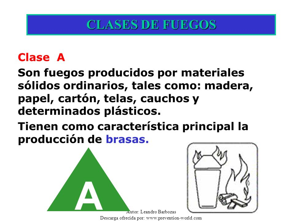 A CLASES DE FUEGOS Clase A
