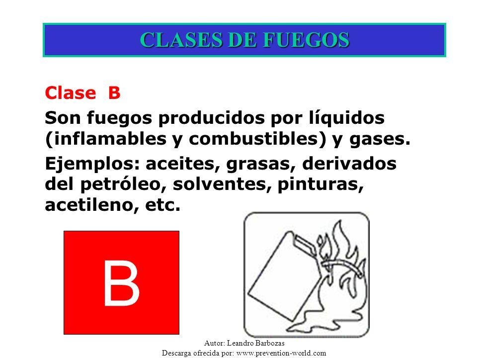 B CLASES DE FUEGOS Clase B
