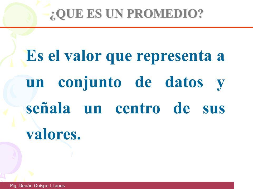 ¿QUE ES UN PROMEDIO Es el valor que representa a un conjunto de datos y señala un centro de sus valores.