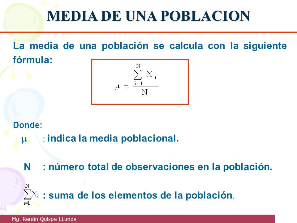 MEDIA DE UNA POBLACION La media de una población se calcula con la siguiente fórmula: Donde:  : indica la media poblacional.