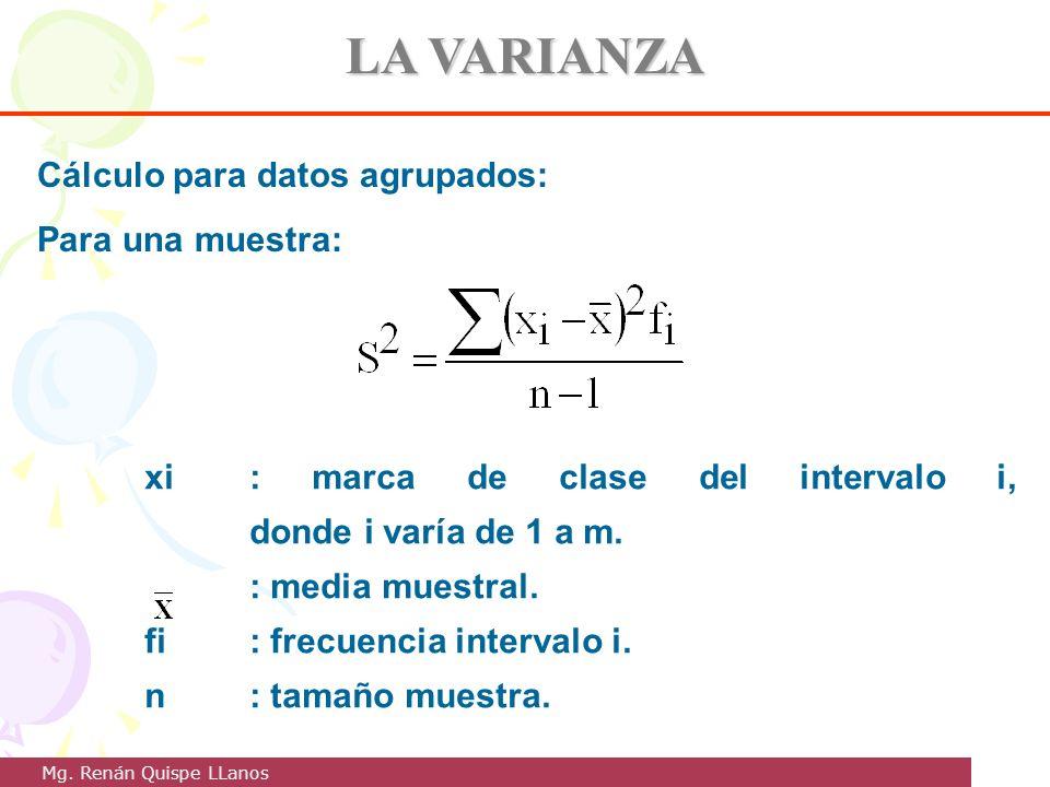 LA VARIANZA Cálculo para datos agrupados: Para una muestra: