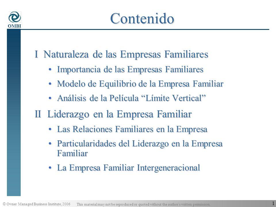 Contenido I Naturaleza de las Empresas Familiares