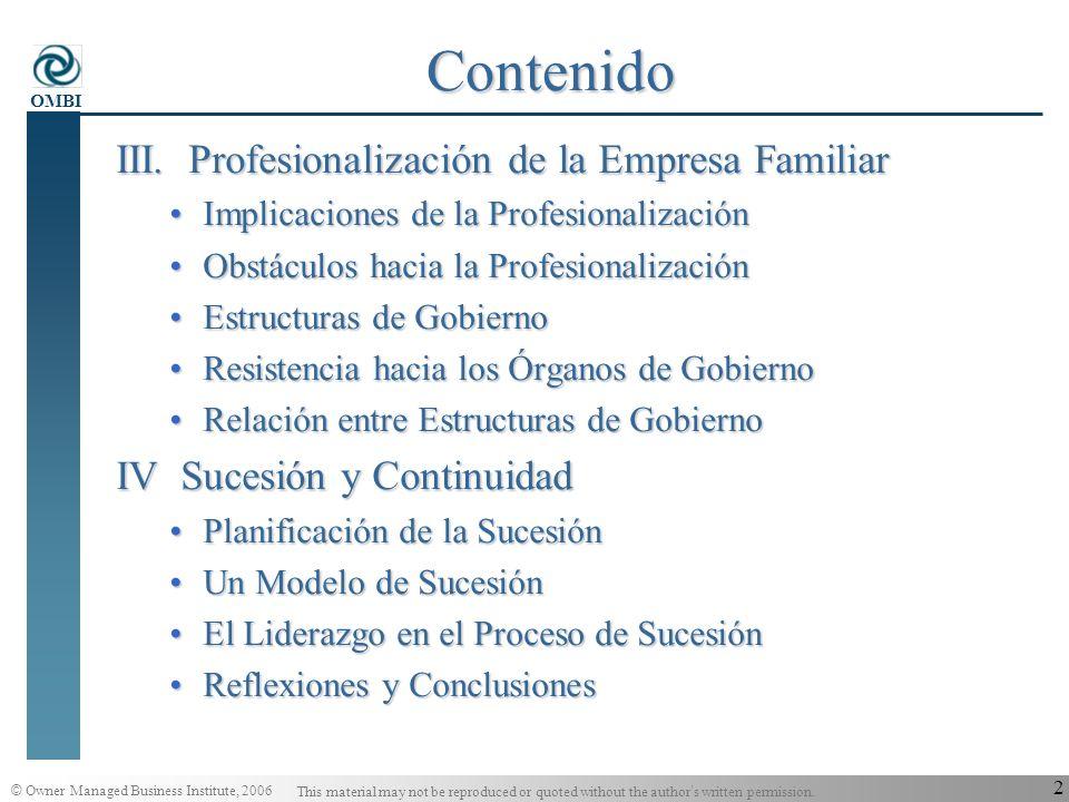 Contenido III. Profesionalización de la Empresa Familiar