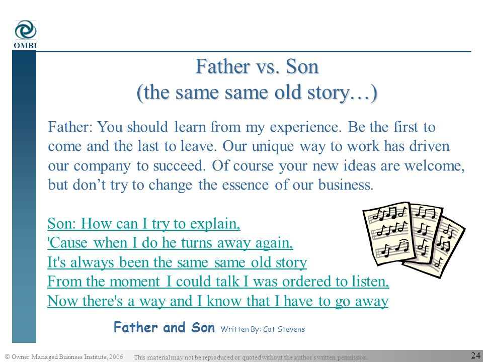 Father vs. Son (the same same old story…)