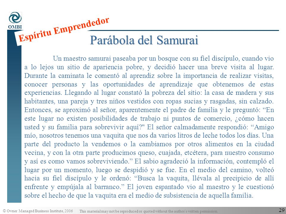 Parábola del Samurai Espíritu Emprendedor