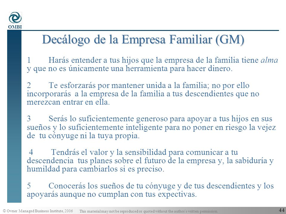 Decálogo de la Empresa Familiar (GM)
