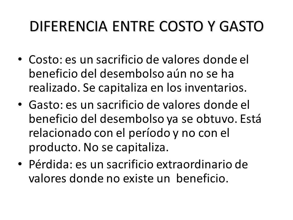 DIFERENCIA ENTRE COSTO Y GASTO