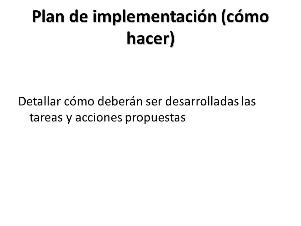Plan de implementación (cómo hacer)