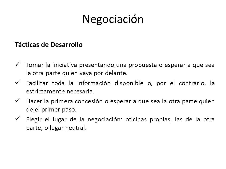 Negociación Tácticas de Desarrollo