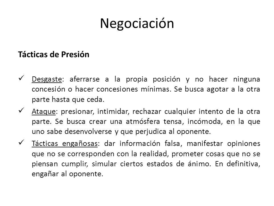 Negociación Tácticas de Presión