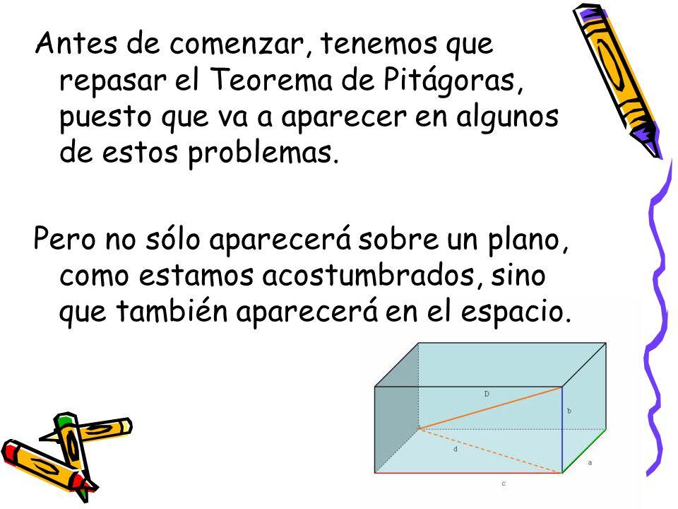 Antes de comenzar, tenemos que repasar el Teorema de Pitágoras, puesto que va a aparecer en algunos de estos problemas.