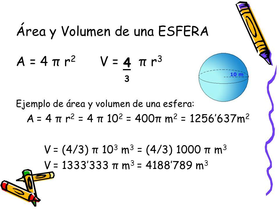Área y Volumen de una ESFERA A = 4 π r2 V = π r3 4 3