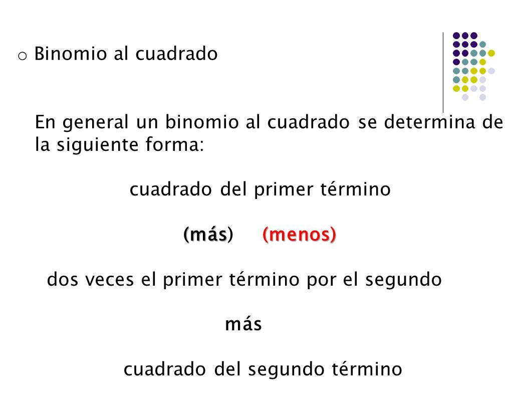 En general un binomio al cuadrado se determina de la siguiente forma: