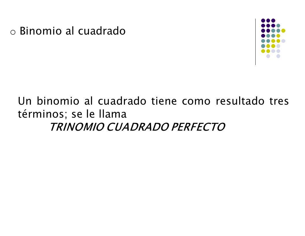 Un binomio al cuadrado tiene como resultado tres términos; se le llama