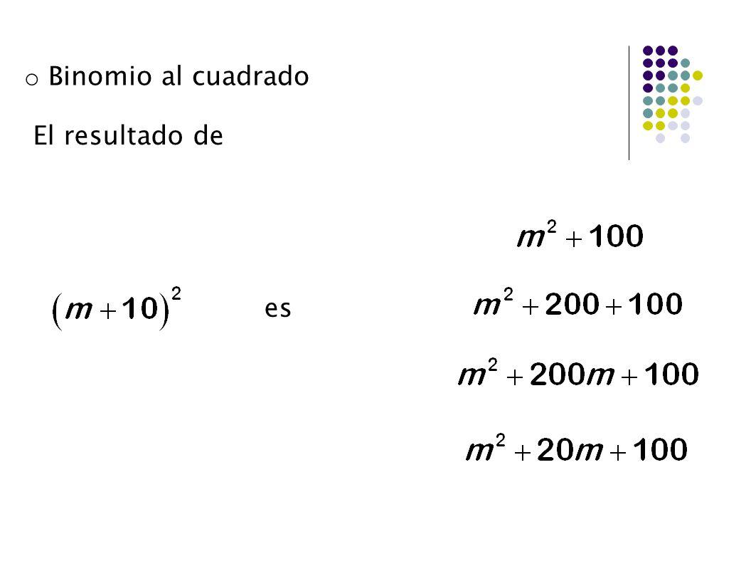 Binomio al cuadrado El resultado de n a n es