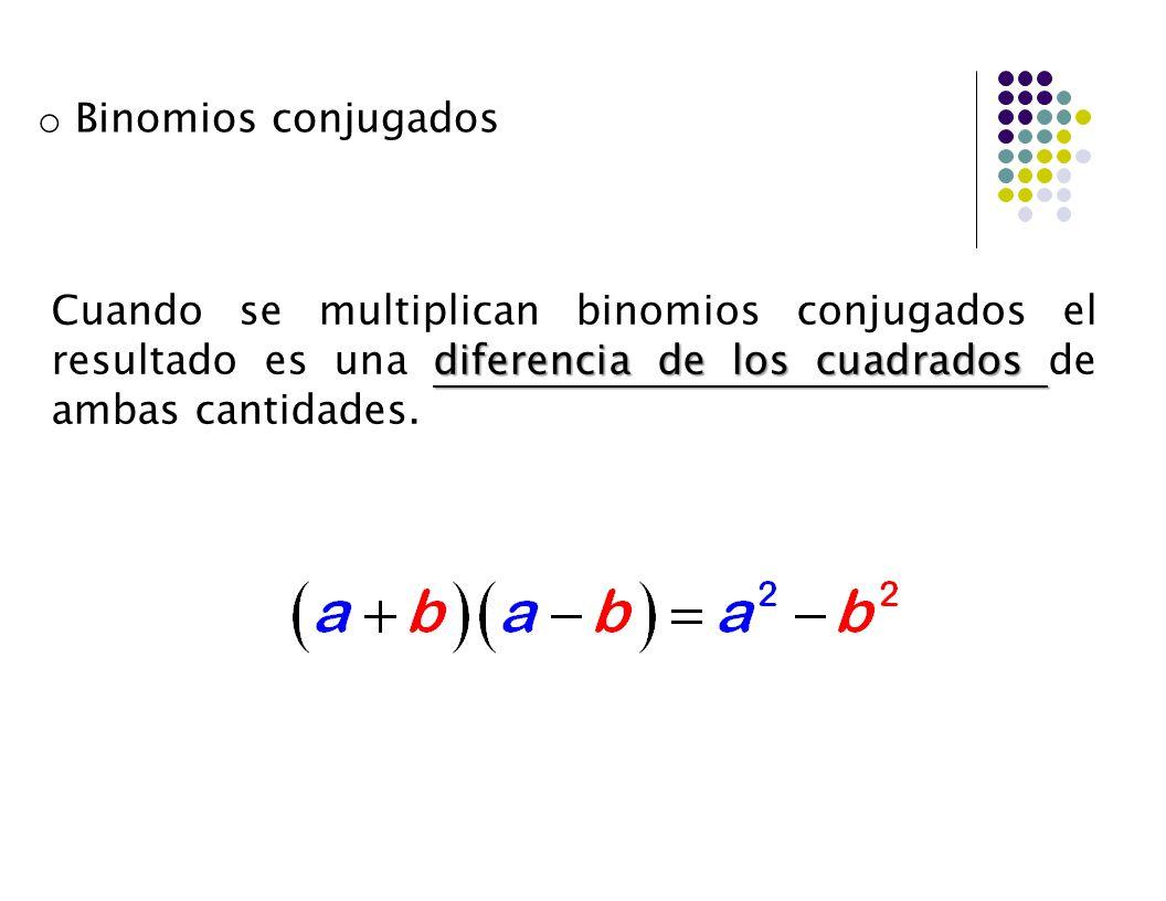 Binomios conjugados Cuando se multiplican binomios conjugados el resultado es una diferencia de los cuadrados de ambas cantidades.