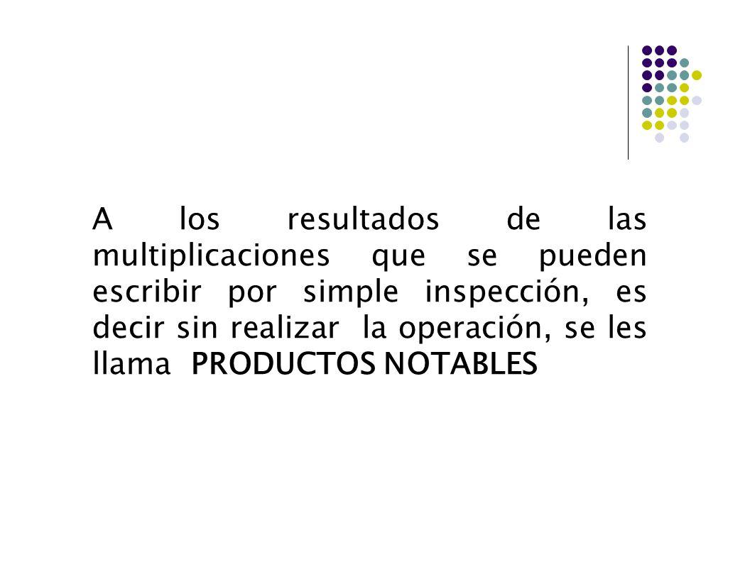 A los resultados de las multiplicaciones que se pueden escribir por simple inspección, es decir sin realizar la operación, se les llama PRODUCTOS NOTABLES