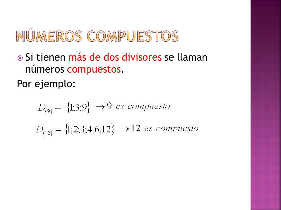 NÚMEROS COMPUESTOS Si tienen más de dos divisores se llaman números compuestos. Por ejemplo: