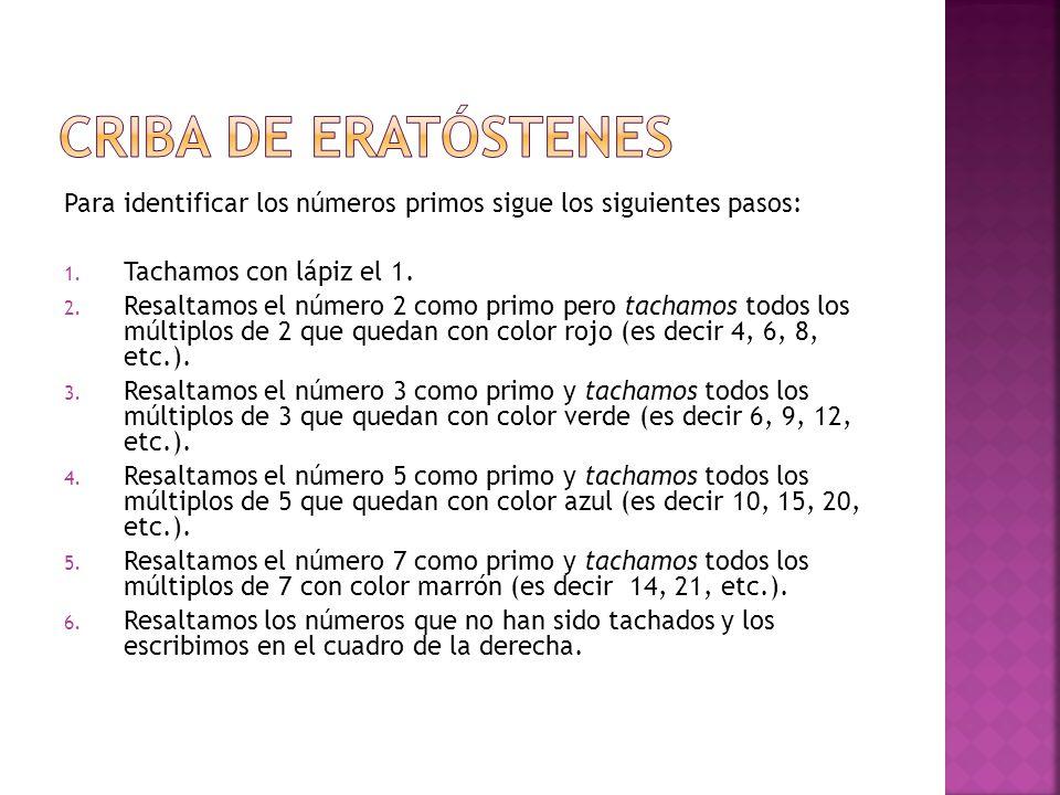 CRIBA DE ERATÓSTENES Para identificar los números primos sigue los siguientes pasos: Tachamos con lápiz el 1.