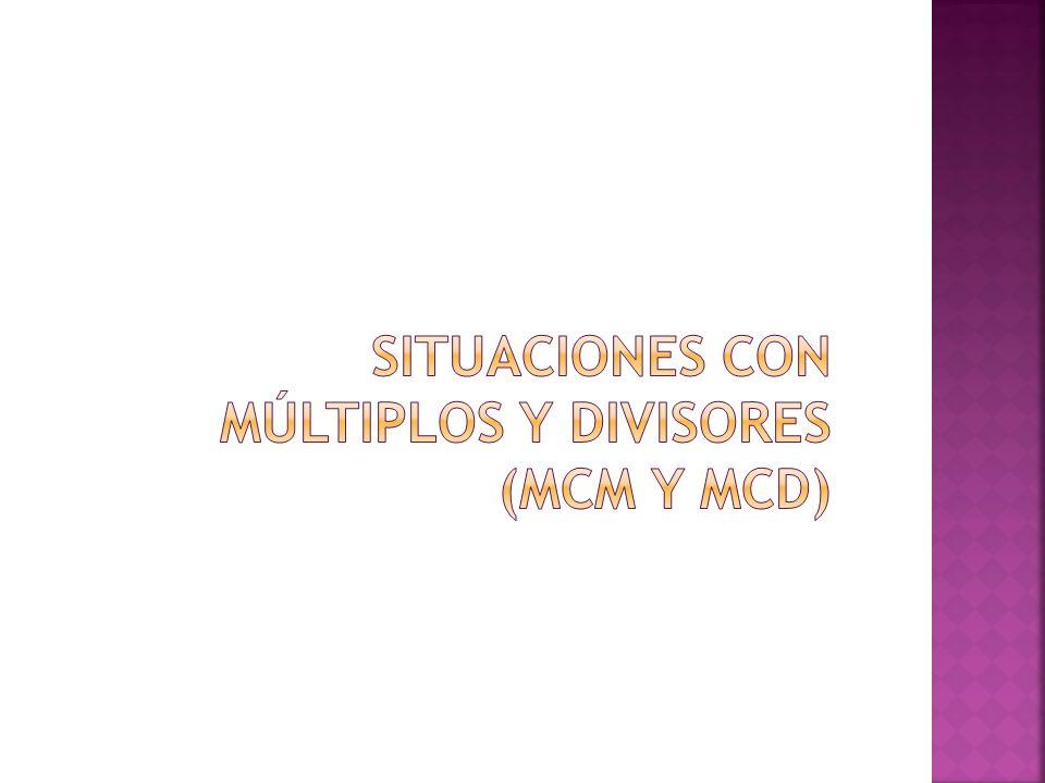 Situaciones con múltiplos y divisores (MCM y MCD)