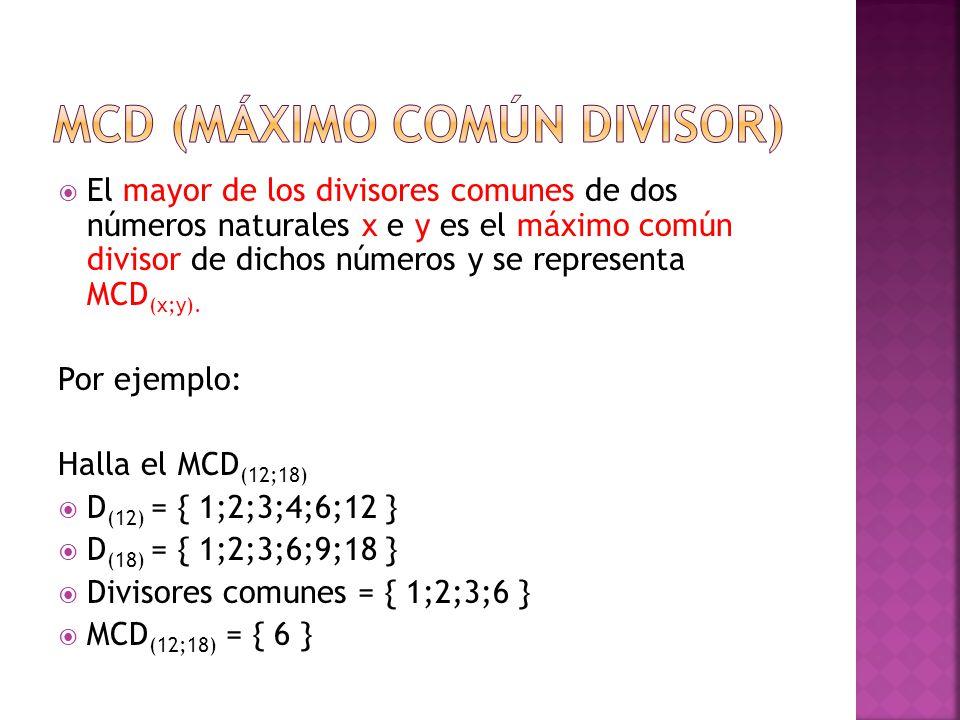 MCD (máximo común divisor)