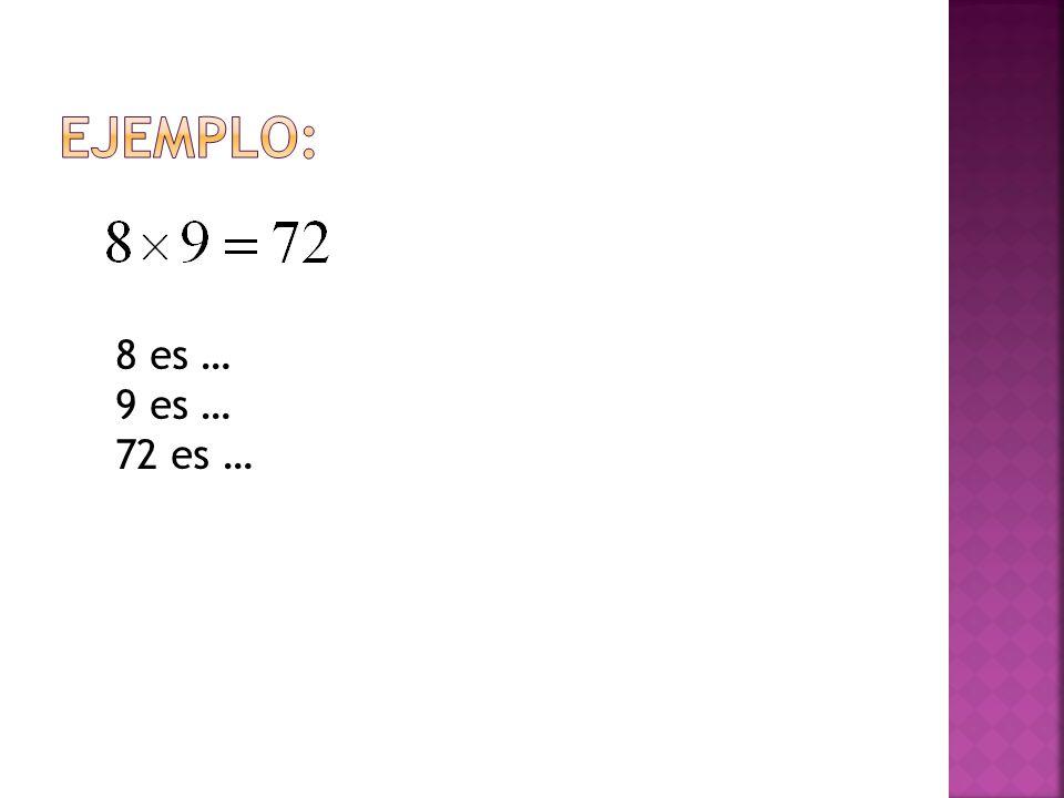 EJEMPLO: 8 es … 9 es … 72 es …
