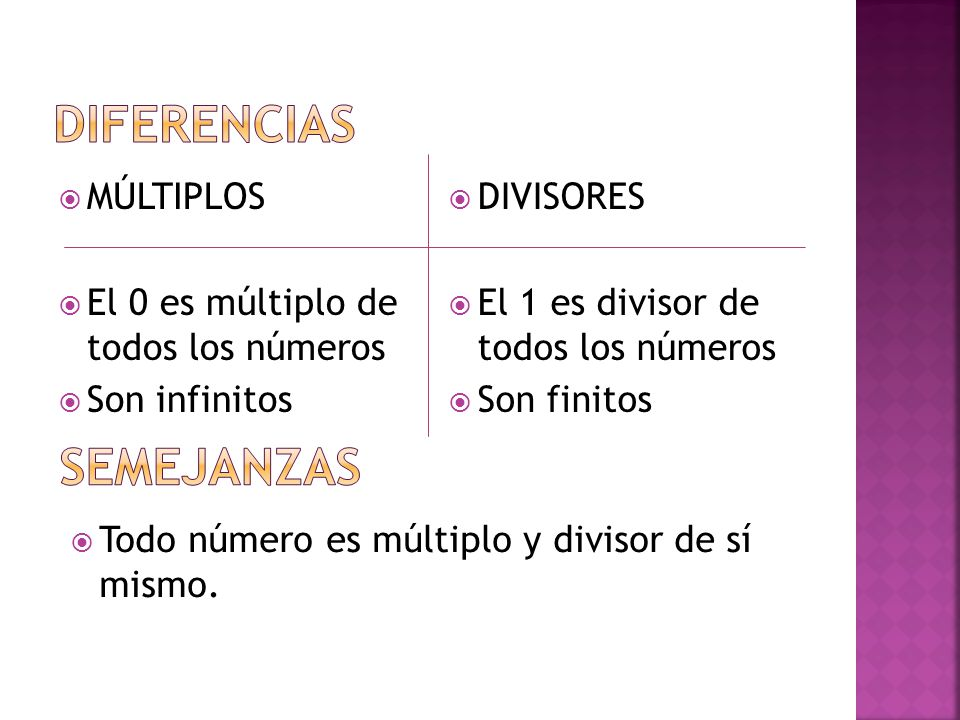 DIFERENCIAS SEMEJANZAS MÚLTIPLOS El 0 es múltiplo de todos los números