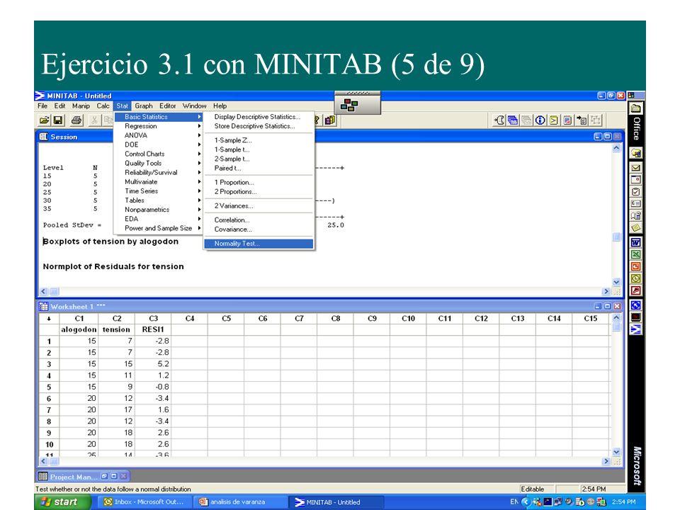 Ejercicio 3.1 con MINITAB (5 de 9)