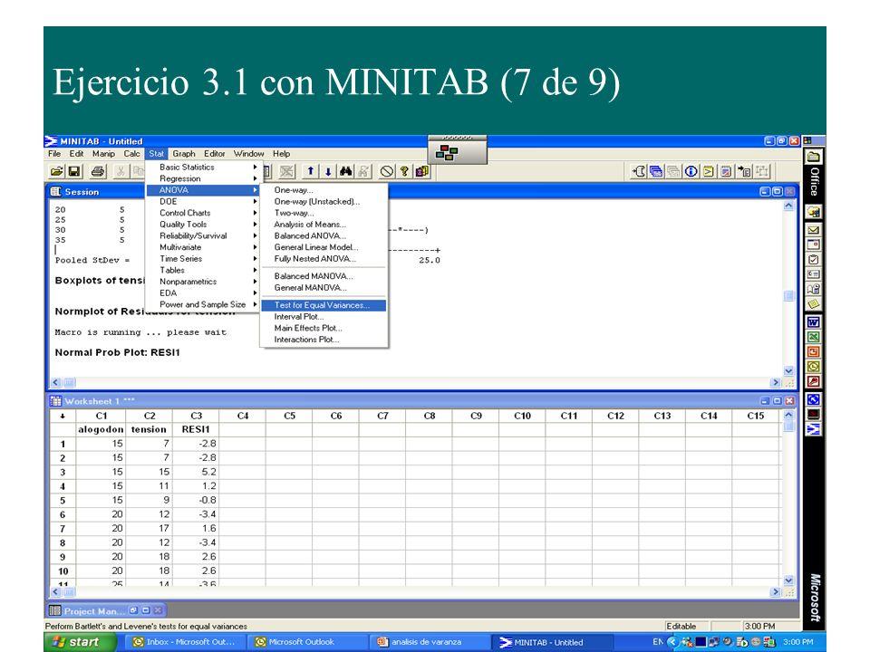 Ejercicio 3.1 con MINITAB (7 de 9)
