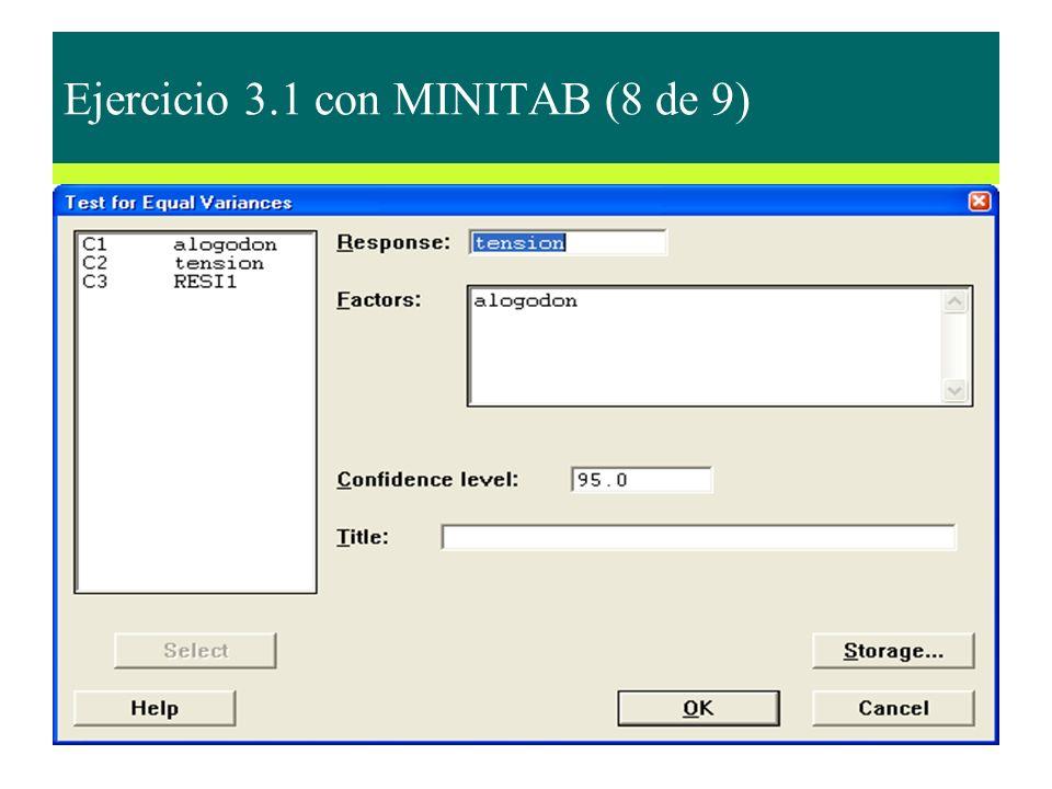 Ejercicio 3.1 con MINITAB (8 de 9)