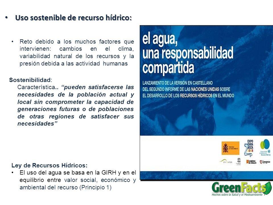 Uso sostenible de recurso hídrico: