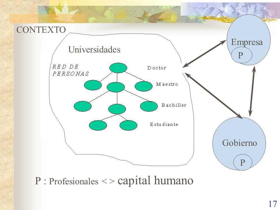 P : Profesionales < > capital humano