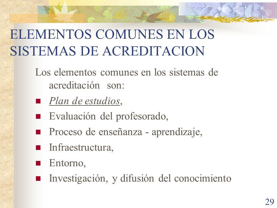 ELEMENTOS COMUNES EN LOS SISTEMAS DE ACREDITACION
