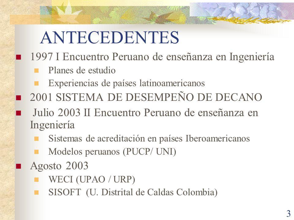 ANTECEDENTES 1997 I Encuentro Peruano de enseñanza en Ingeniería