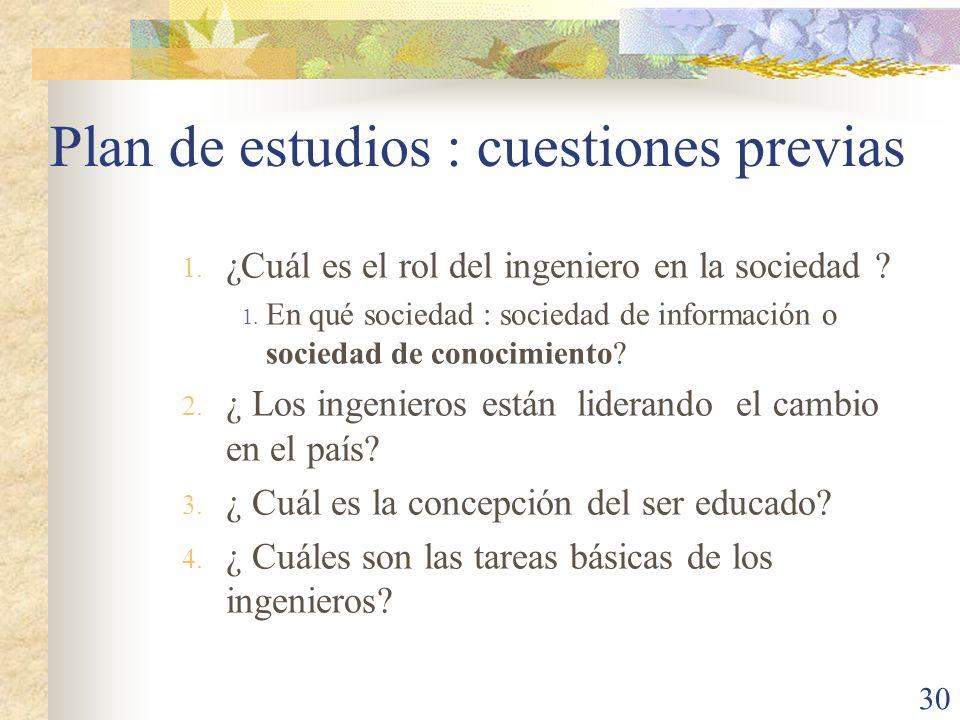 Plan de estudios : cuestiones previas